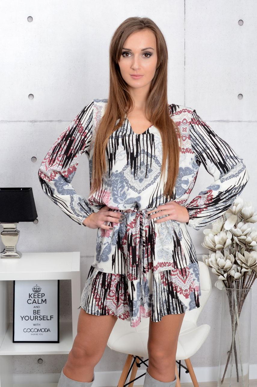 7fa1afbd88 Sukienka z falbaną i paskiem we wzory szaro-bordo - Cocomoda....
