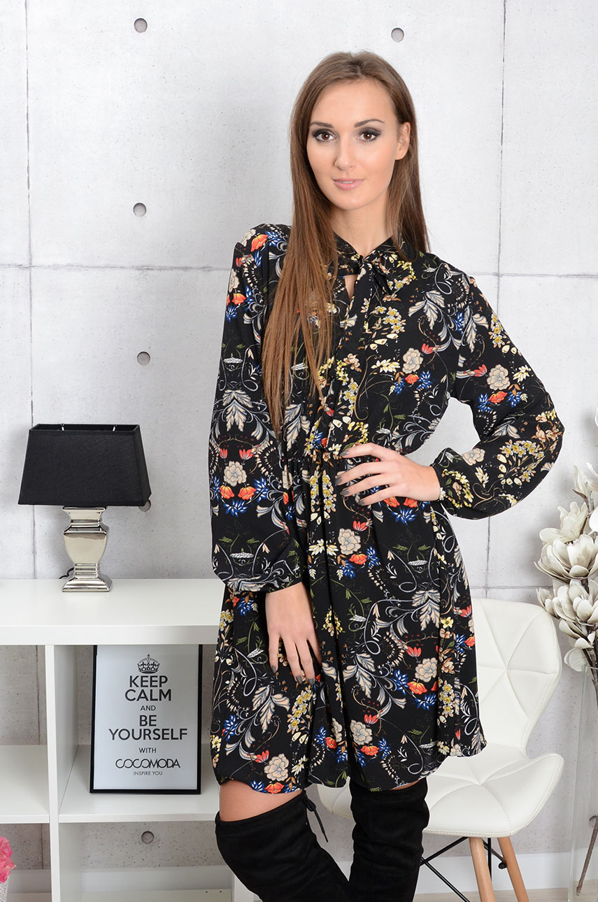 Sukienka Miranda w kwiaty z wiązaniem czarna