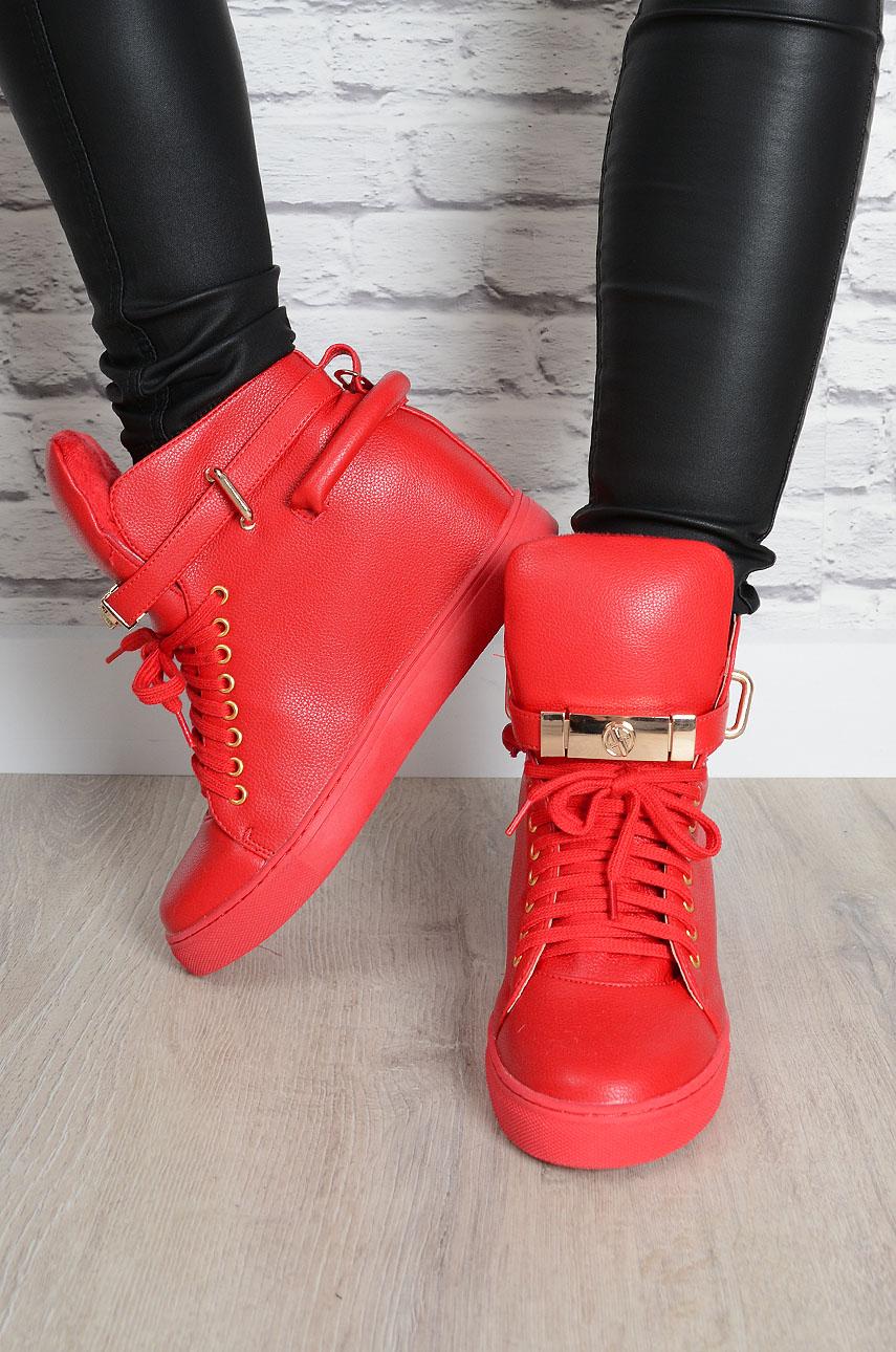 4297aba5f69067 Trampki sneakersy na koturnie z kłódką czerwone - Cocomoda.pl...