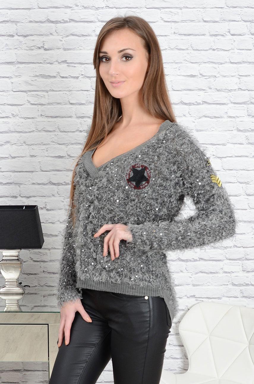 dc124bdf4c9efc Sweter włochaty z cekinami i naszywkami grafit Sklep cocomoda.pl