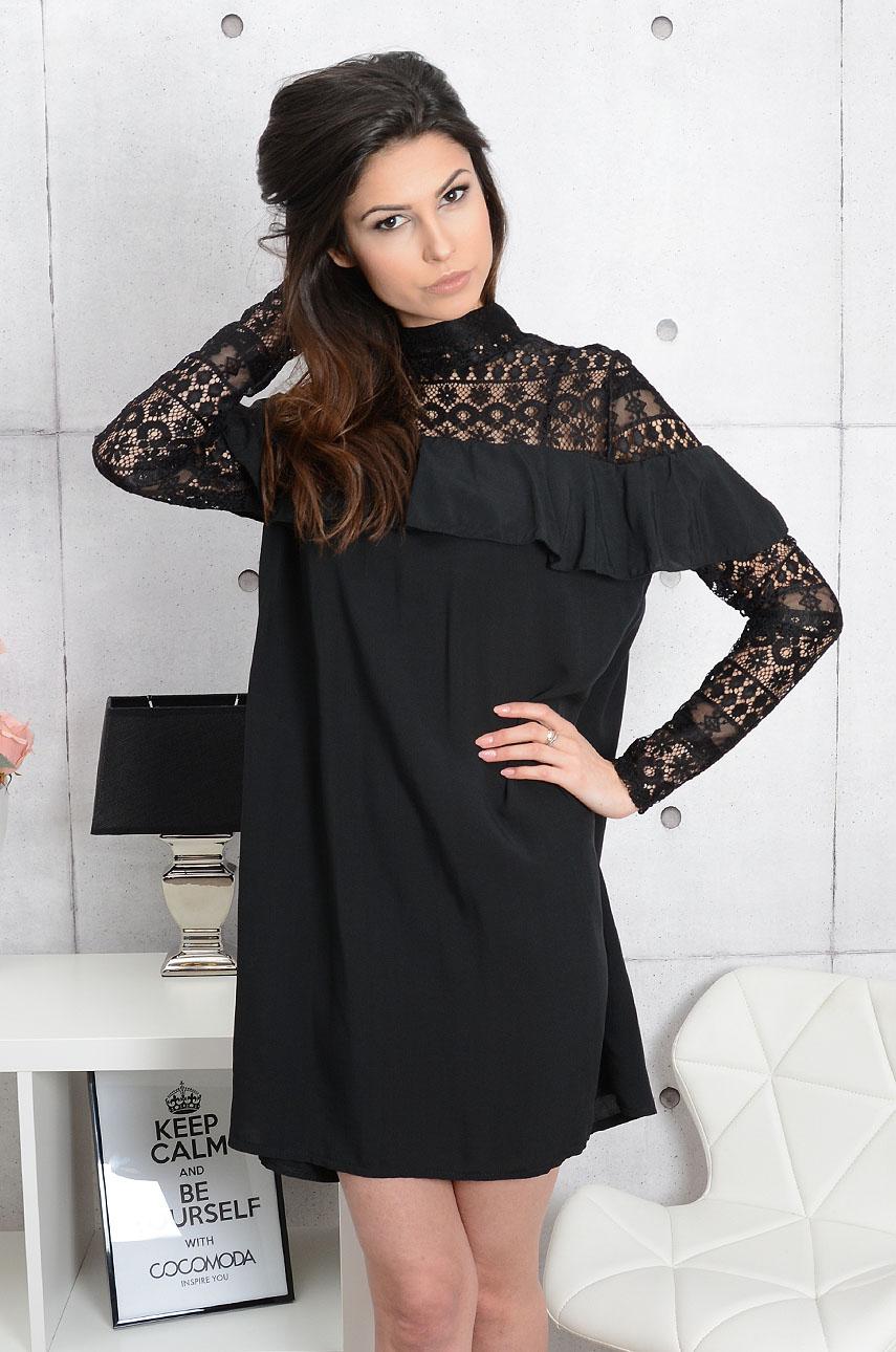 6a73c476 Sukienka Livia z koronką i falbaną czarna