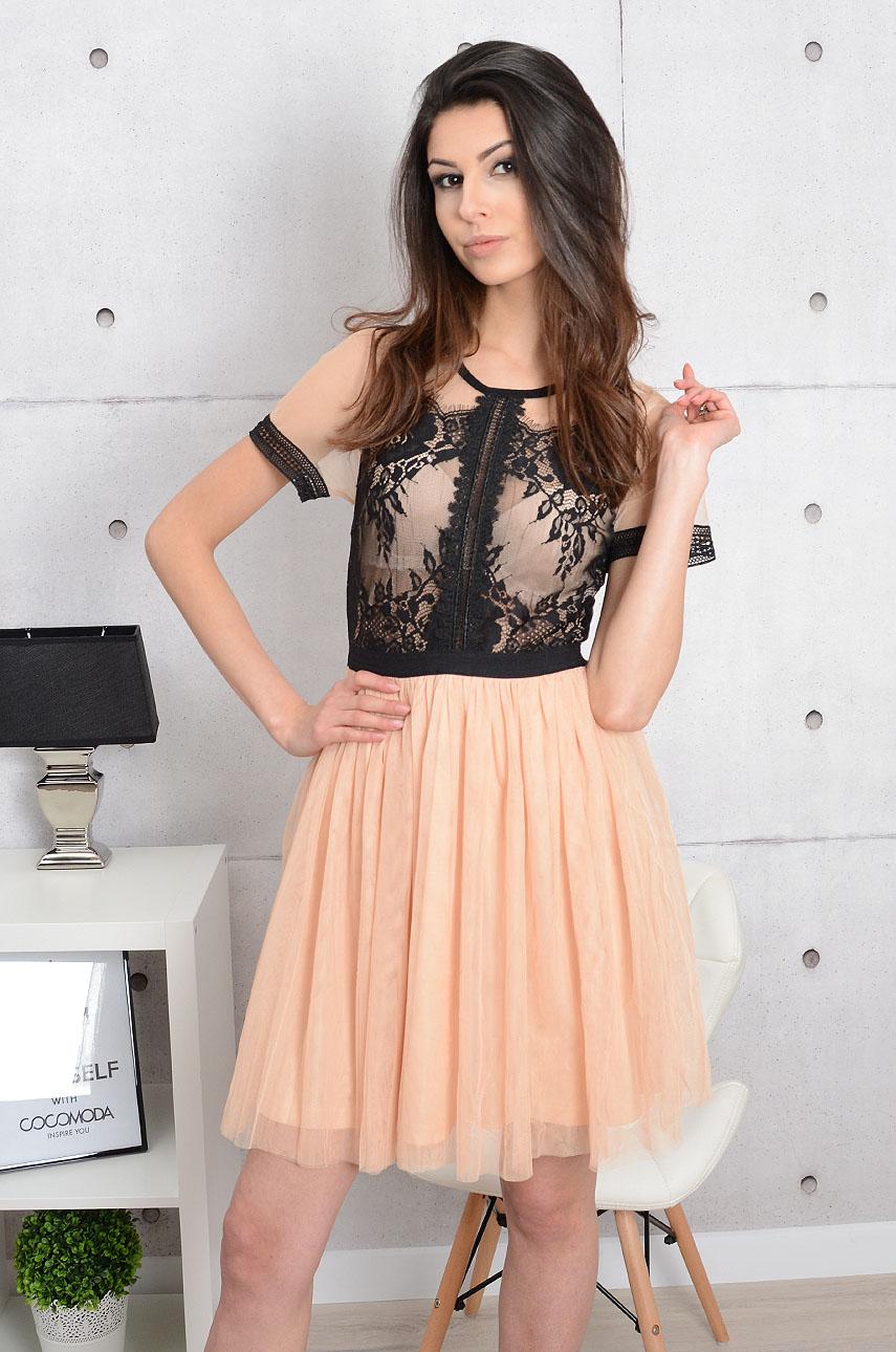 b487765ddc5 Sukienka Vanilla koronka i tiul beżowo-czarna