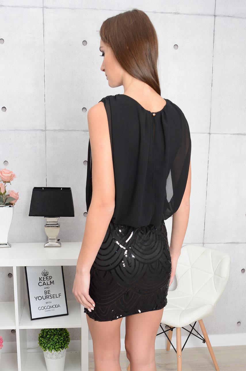 Sukienka Calliope z cekinami czarna