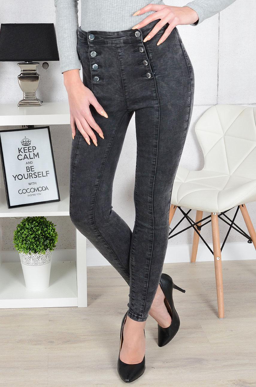 Spodnie jeans wysoki stan dwurzędowe czarne