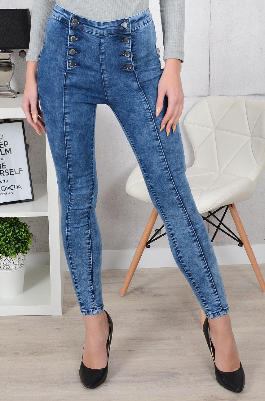 Spodnie jeans wysoki stan dwurzędowe