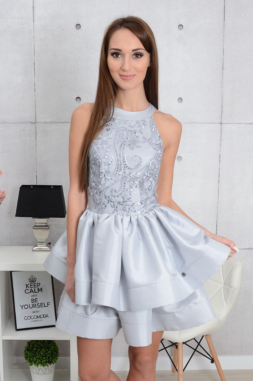 b87b59f745 Sukienka Migela z podwójną falbaną szara