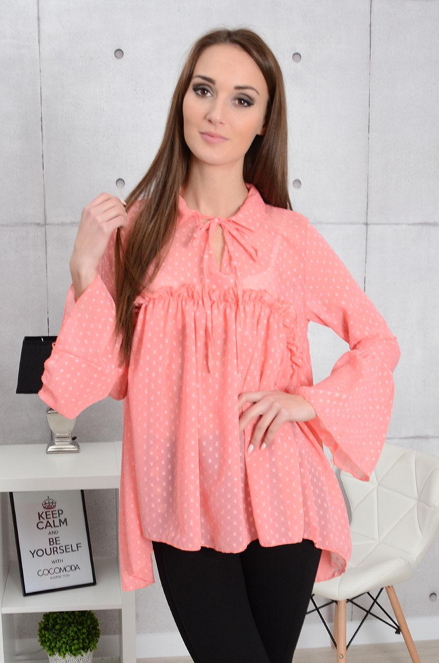 Oversizowa bluzka Adele Dots z falbaną róż Rozmiar: UNI