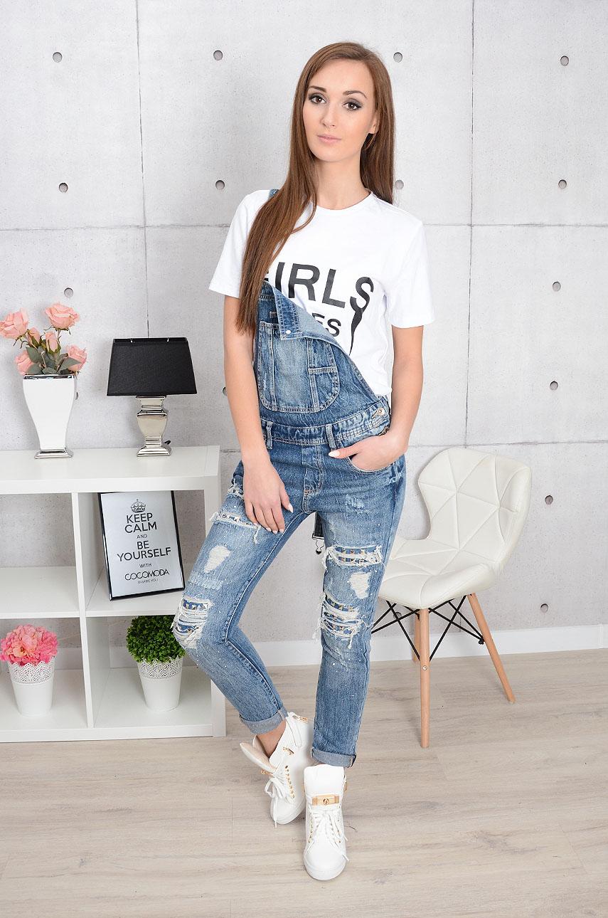Ogrodniczki jeansowe z dziurami i ćwiekami Rozmiar: S