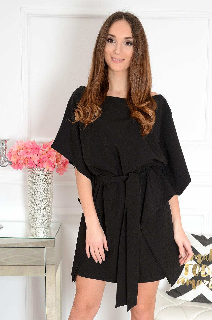 5f26d7f40e Sukienka oversize z paskiem czarna. Sklep internetowy cocomod...