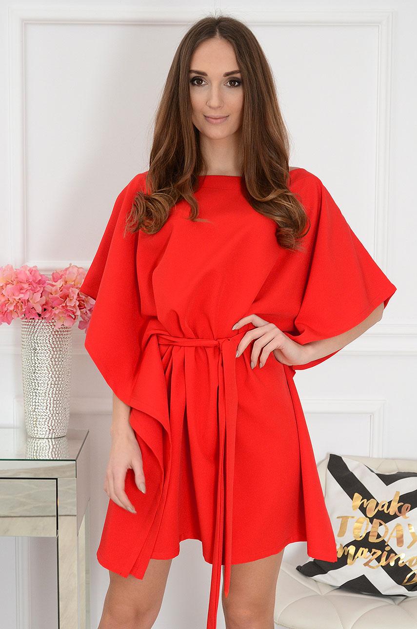 ca5268588a Sukienka oversize z paskiem czerwona. Sklep internetowy cocom...