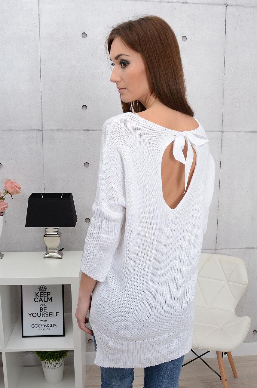 57f2b57c5083 Sweterek tunika Malaga wiązany z tyłu biały - Cocomoda.pl - o...