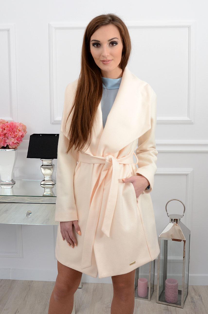 Elegancki płaszcz Monaco kremowy beż Rozmiar: XS