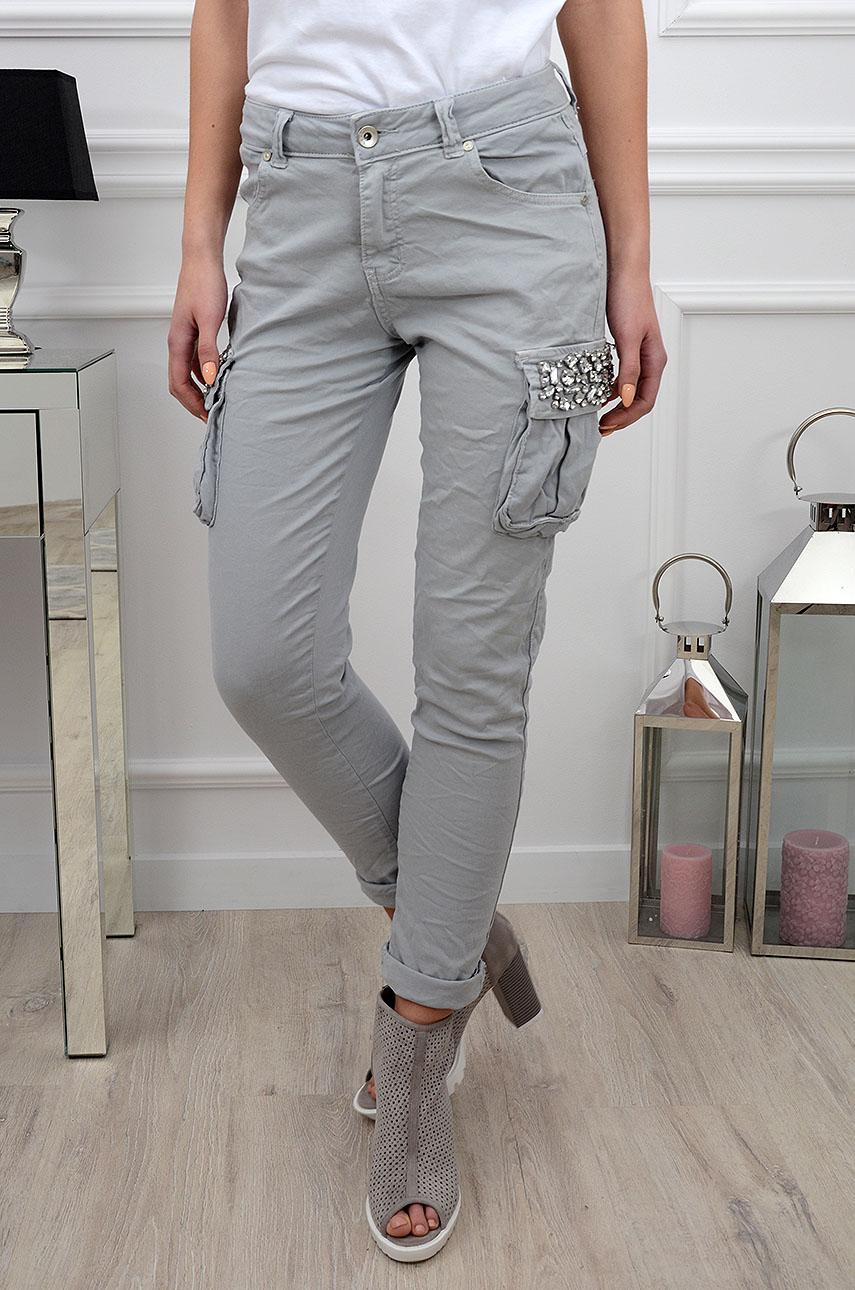 Spodnie bojówki z kamieniami szare Rozmiar: M