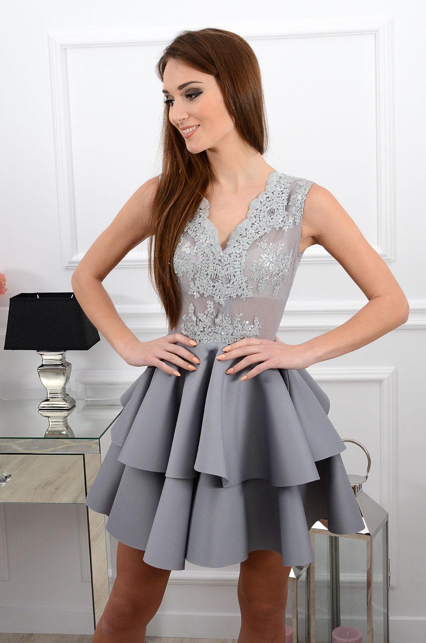 f91432973d Sukienka z podwójną falbaną szara Sklep internetowy cocomoda.pl