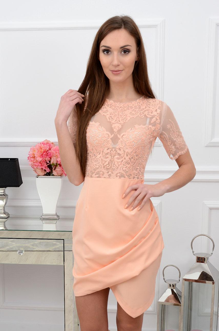 Sukienka Bellezza z koronkową górą morela Rozmiar: S