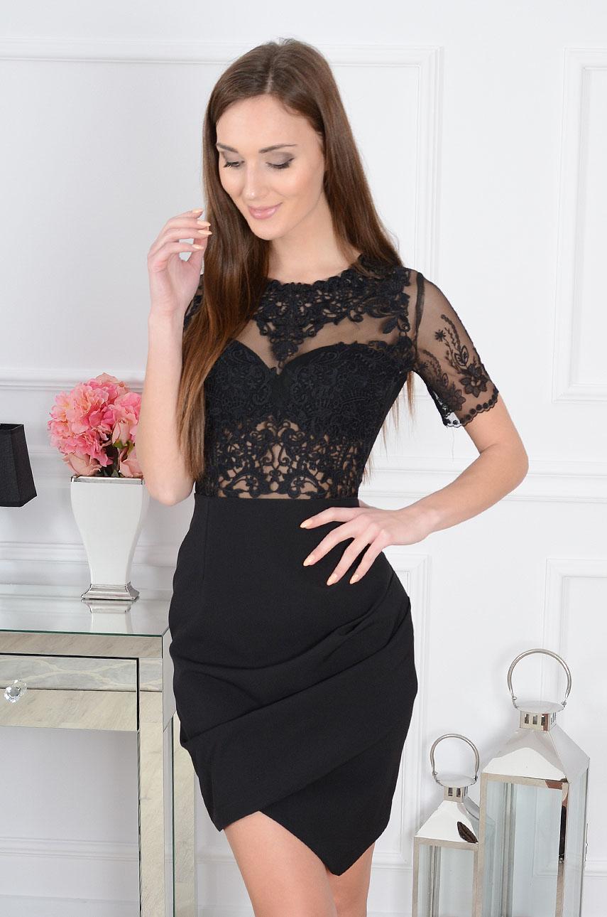 Sukienka Bellezza z koronkową górą czarna