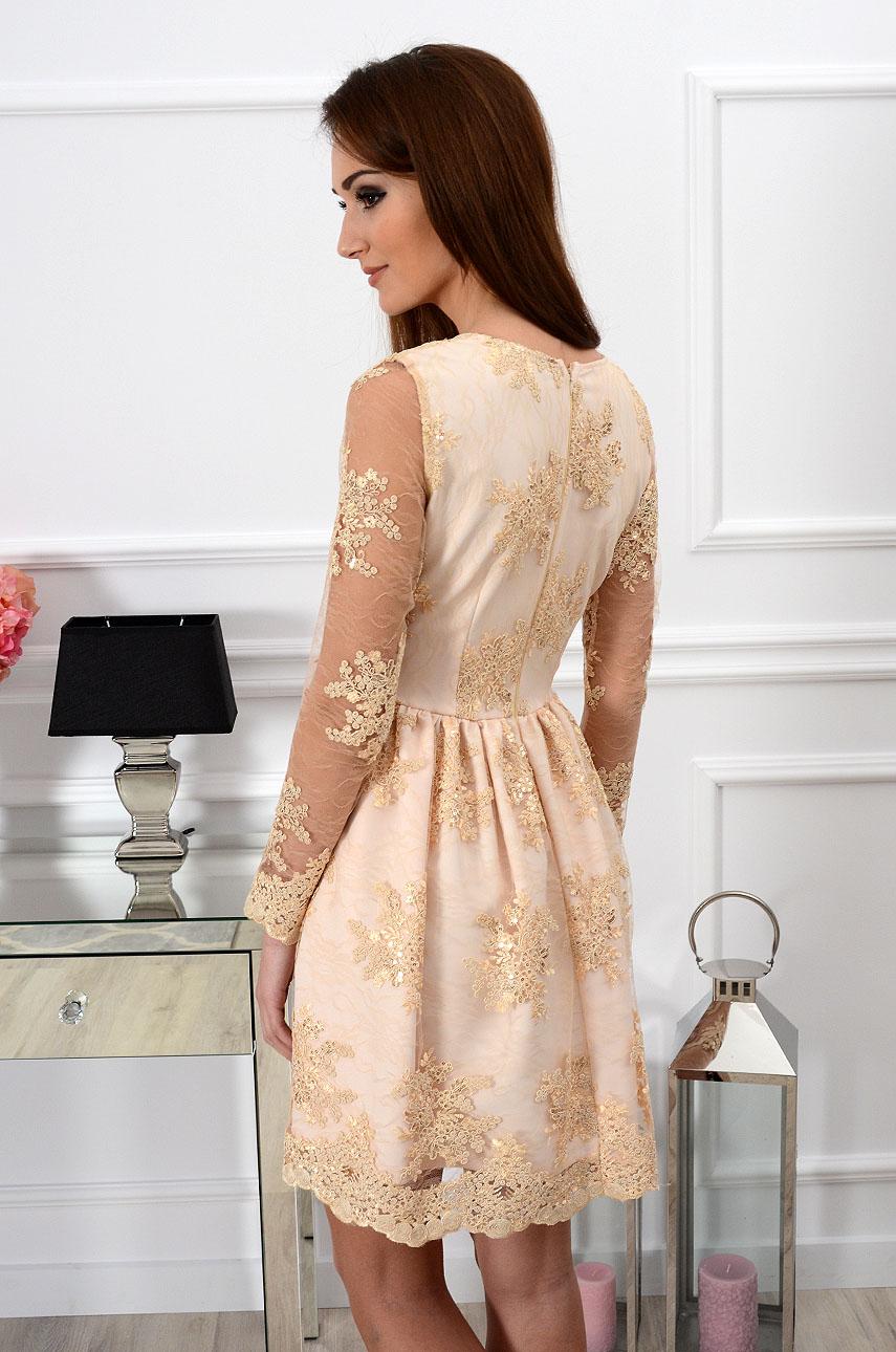 3423c5a993 Sukienka z koronki Verona beżowo-złota