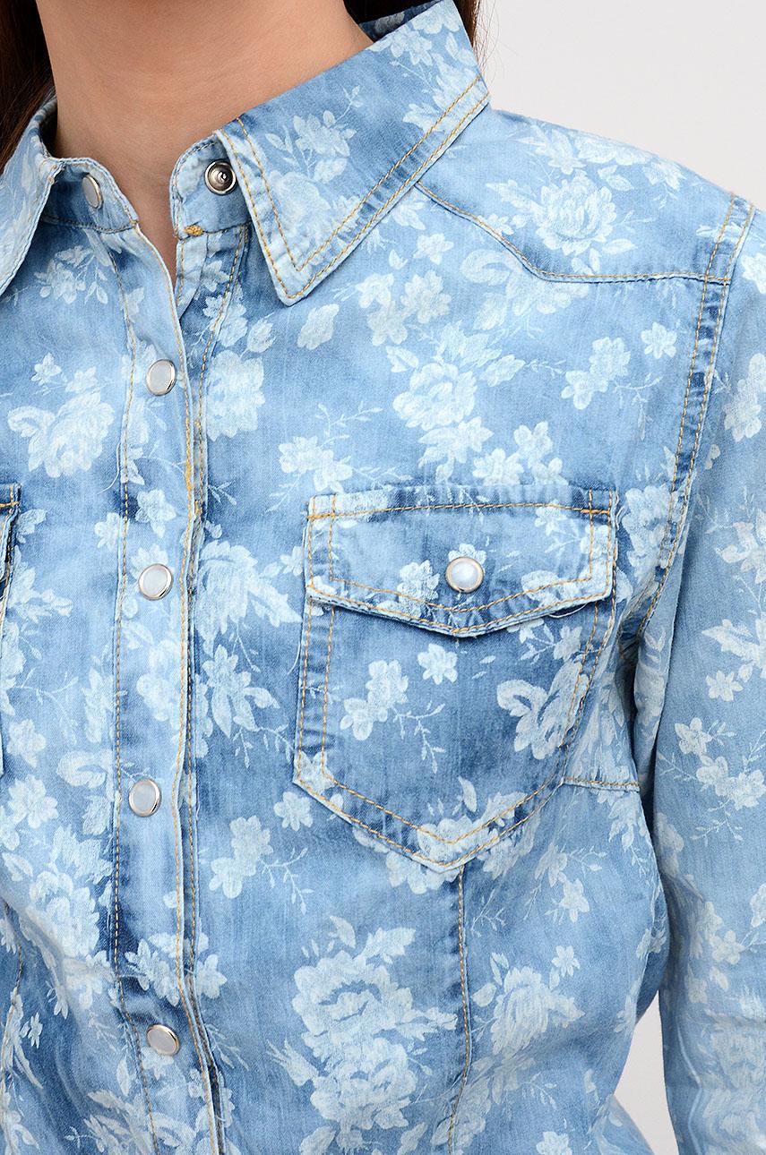 Koszula jeansowa w białe kwiaty Cocomoda.pl odzież damska