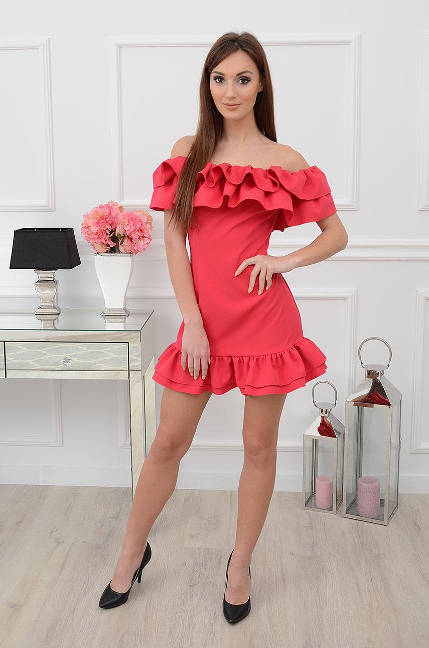 5853604e748c26 Sukienka hiszpanka z podwójną falbaną czerwona - Cocomoda.pl ...