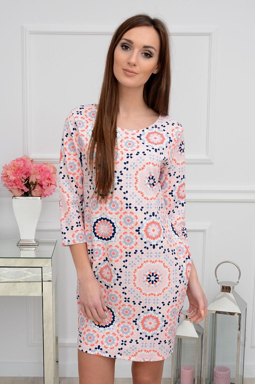 67a1c47711 Sukienka bombka w okrągłe wzory różowa Sklep internetowy coco...