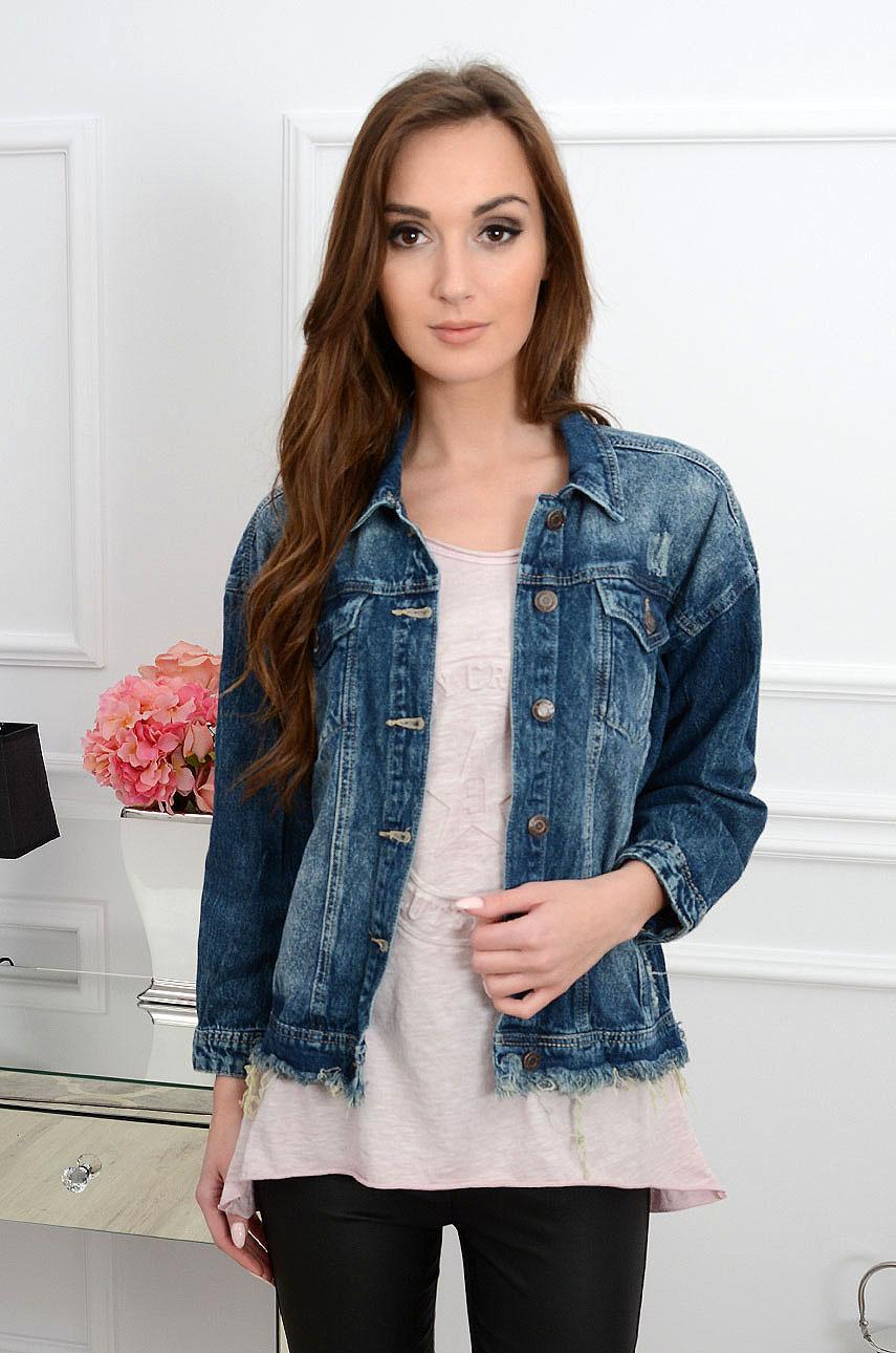 Katana jeansowa z dziurami postrzępiony dół Rozmiar: S/M