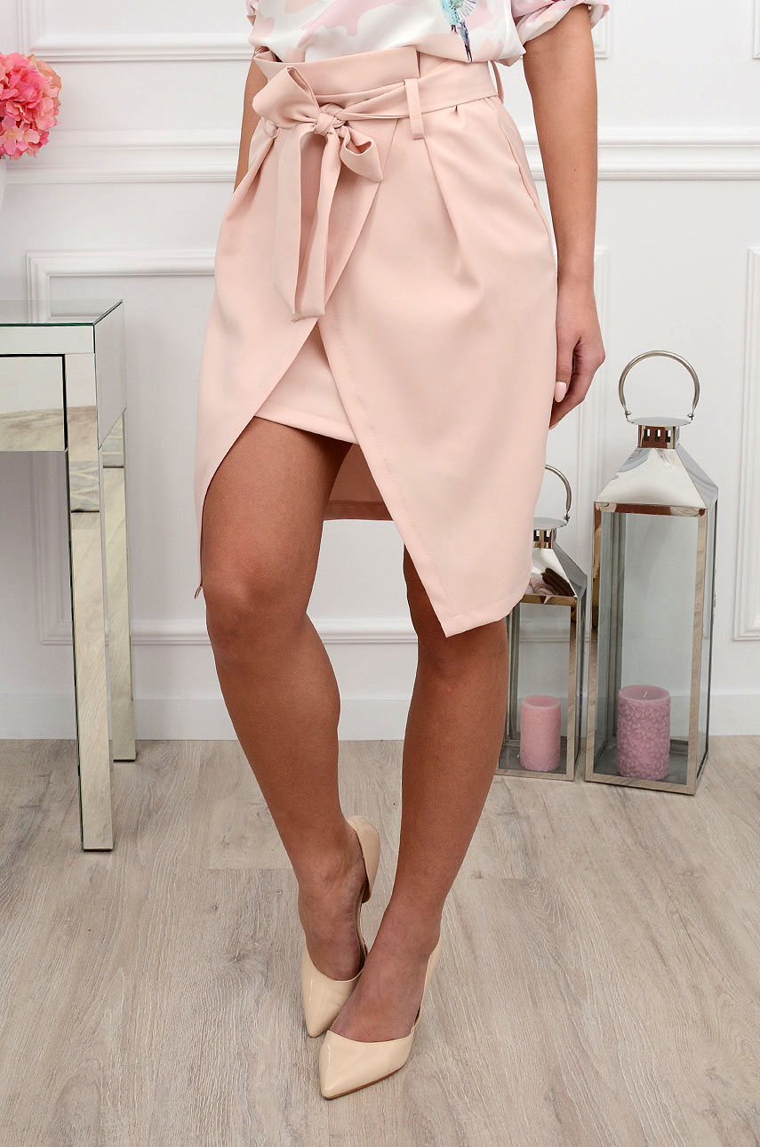 Spódnica asymetryczna Carina pudrowy róż