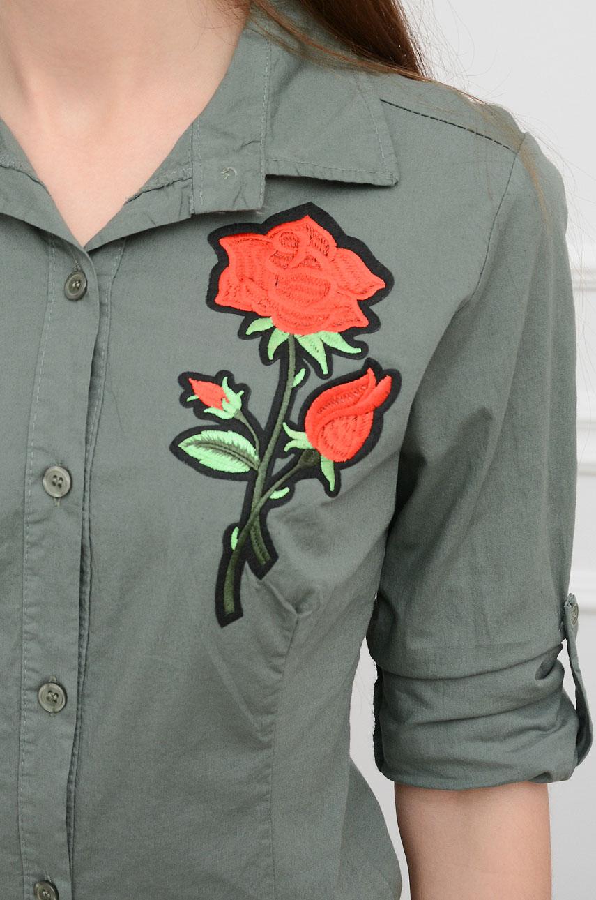 Koszula z haftowaną różą khaki Cocomoda.pl odzież damska,  qdmyR