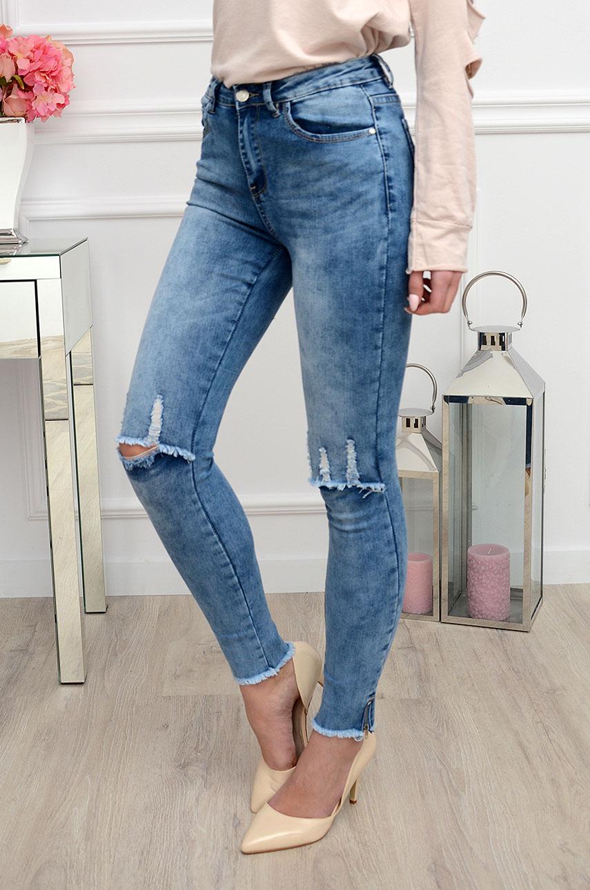 436c9081bd2f Spodnie jeans postrzępione z zamkami - Cocomoda.pl - odzież d...