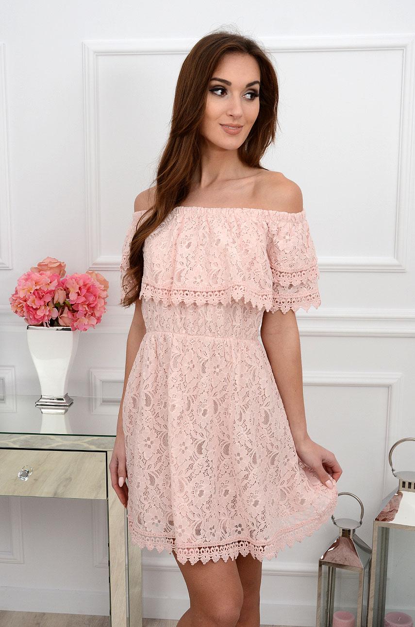 2a68e2f0e4a6 Sukienka hiszpanka koronkowa z falbaną pudrowy róż - Cocomoda...