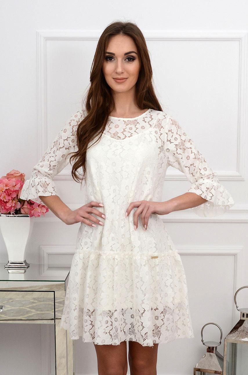 15cea35b54 Sukienka koronkowa z falbaną kremowa Sklep internetowy cocomo...