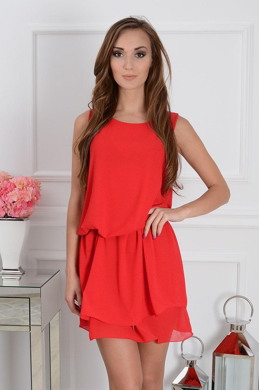 Sukienka szyfonowa Sylvia czerwona