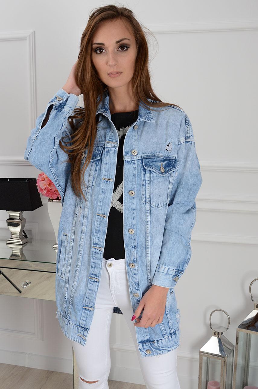 8a3f3fdcf41a Długa katana jeansowa z dziurami jasny jeans - Cocomoda.pl - ...
