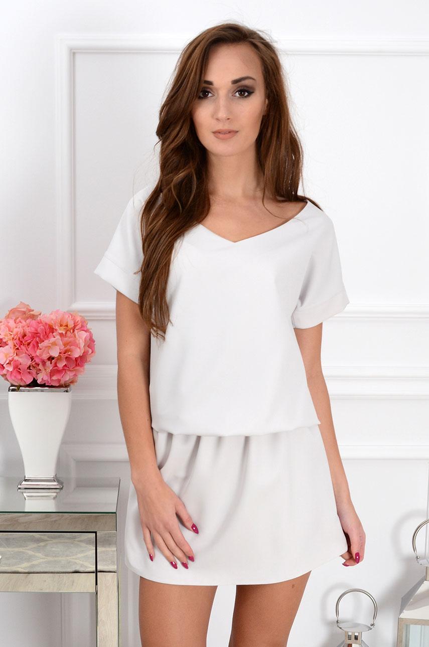 49070c232ba88f Sukienka Lora dekolt na plecach jasno szara - Cocomoda.pl - o...