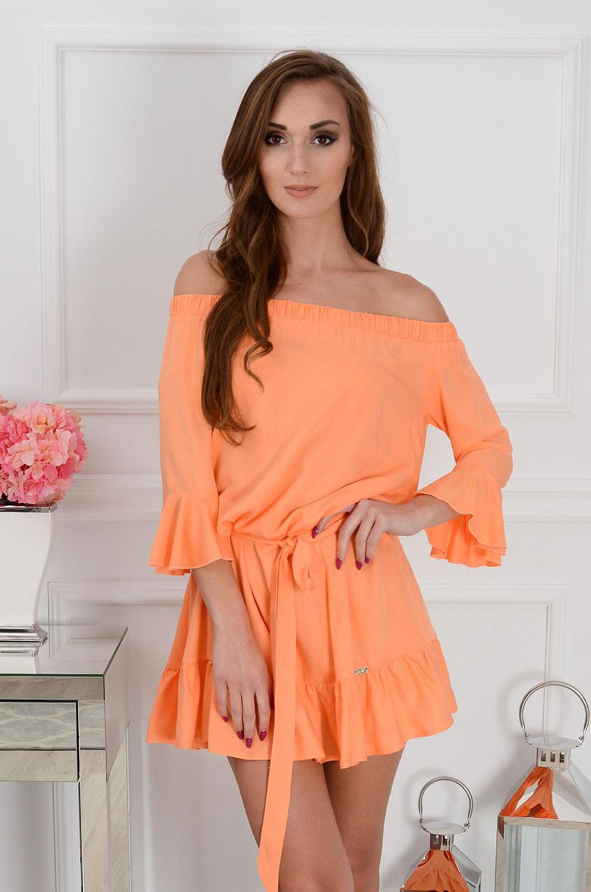 7168babc96 Sukienka hiszpanka Sunset z falbaną pomarańczowa - Cocomoda.p...