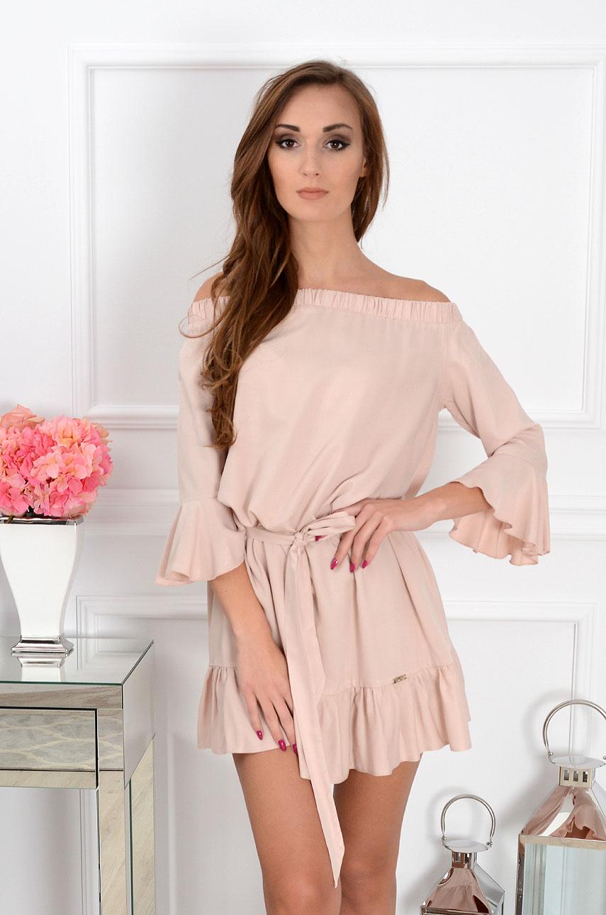 05689d75bd08 Sukienka hiszpanka Sunset z falbaną pudrowy róż - Cocomoda.pl...
