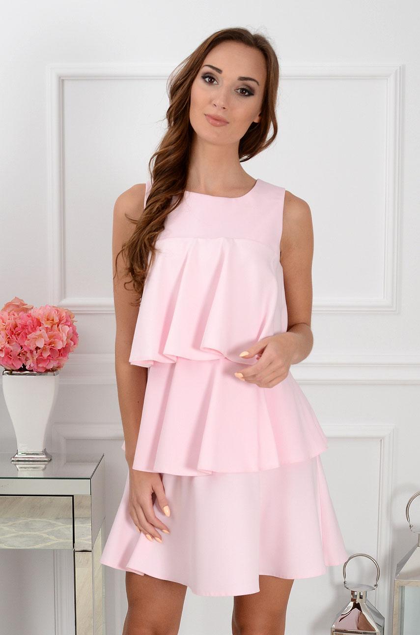 5c60a1e321 Sukienka trzy falbany jasny róż Sklep internetowy cocomoda.pl...