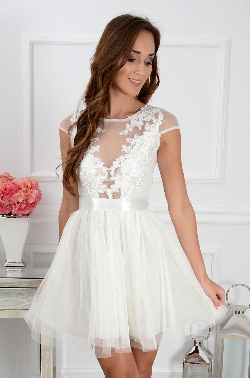 Sukienka Ballerina z gipiurą i tiulem biała