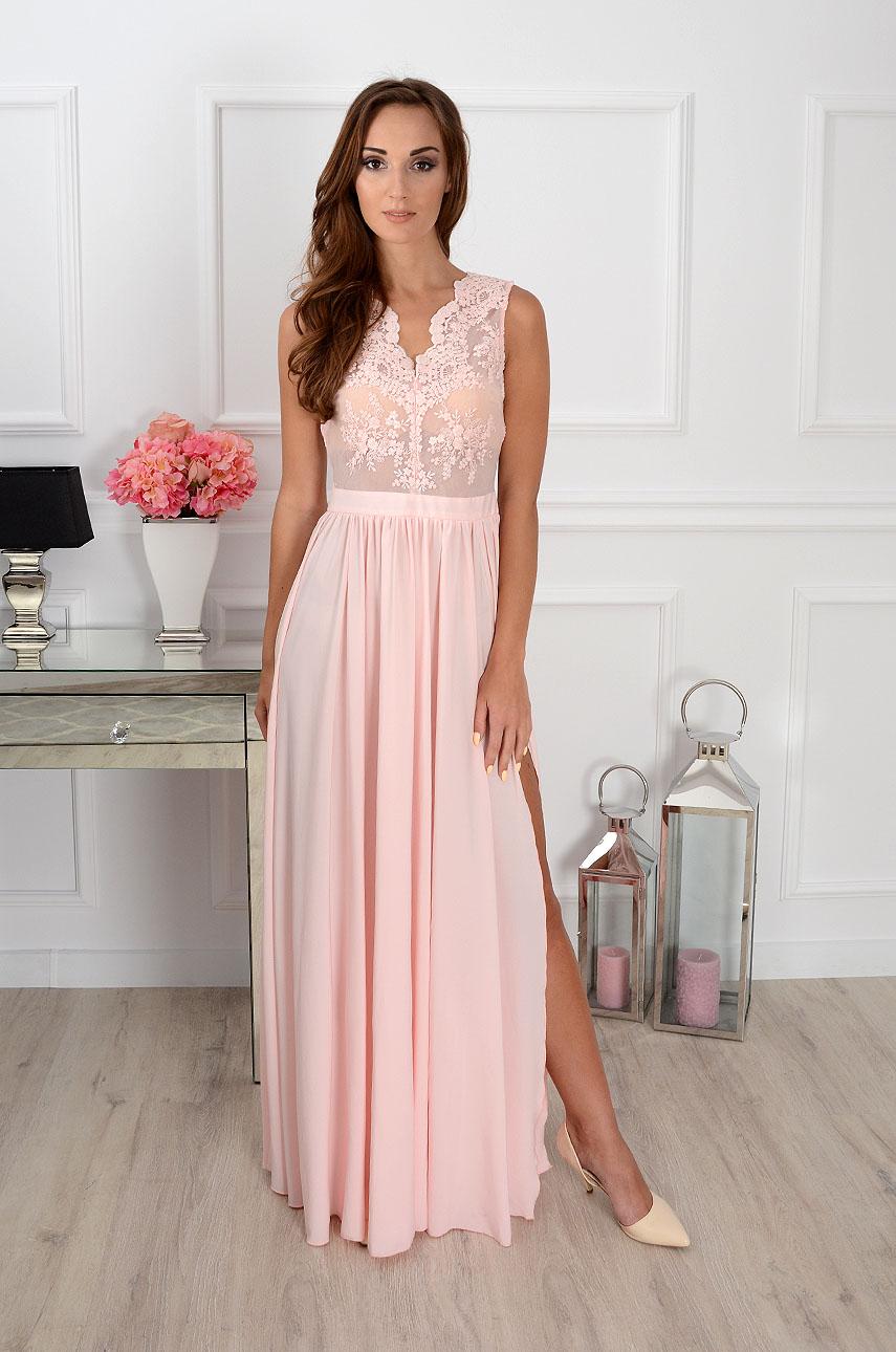 Sukienka maxi Athena z gipiurą pudrowy róż Rozmiar: XS