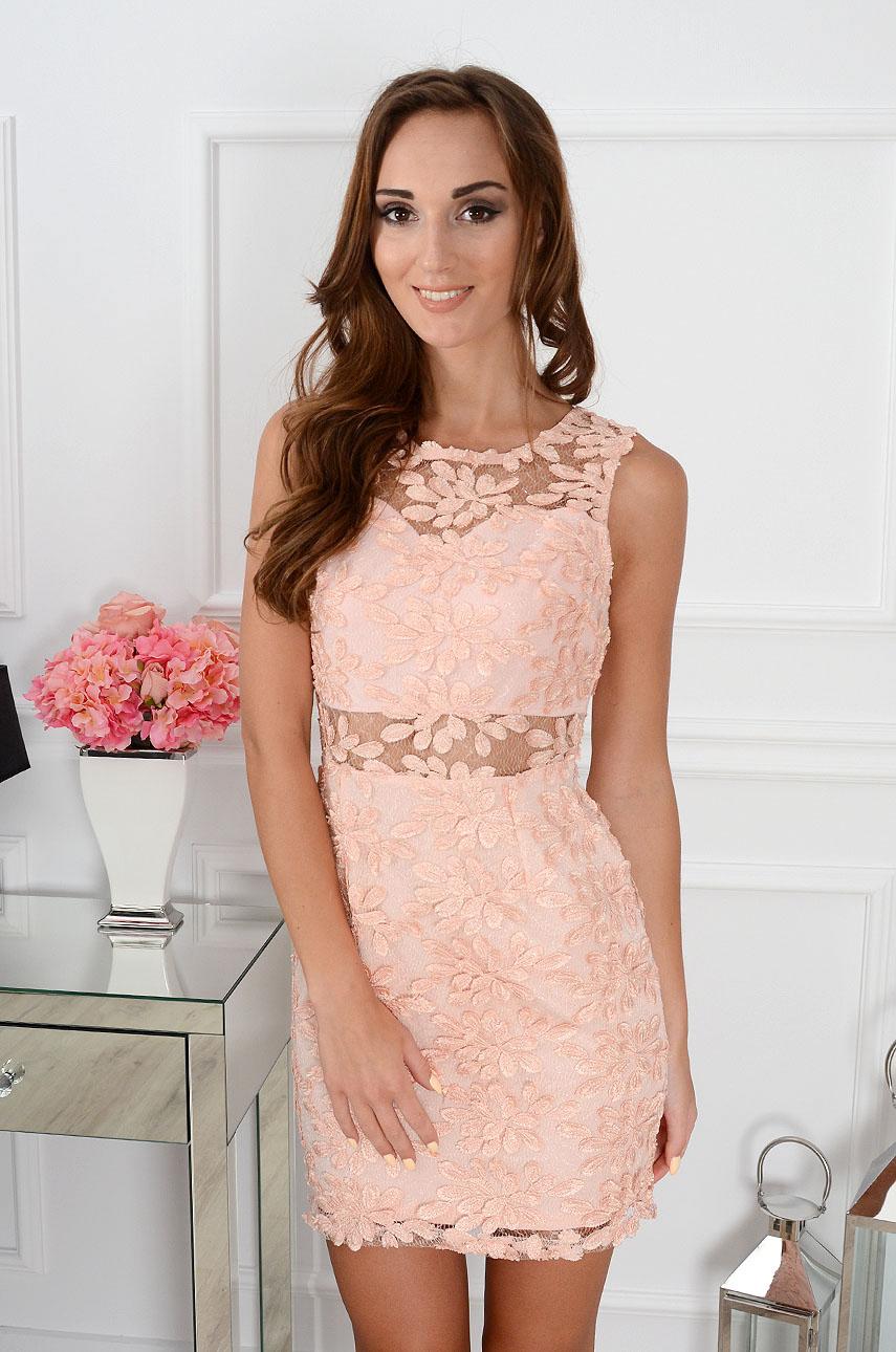 Sukienka Liv z siateczką kwiaty 3D pudrowy róż Rozmiar: L