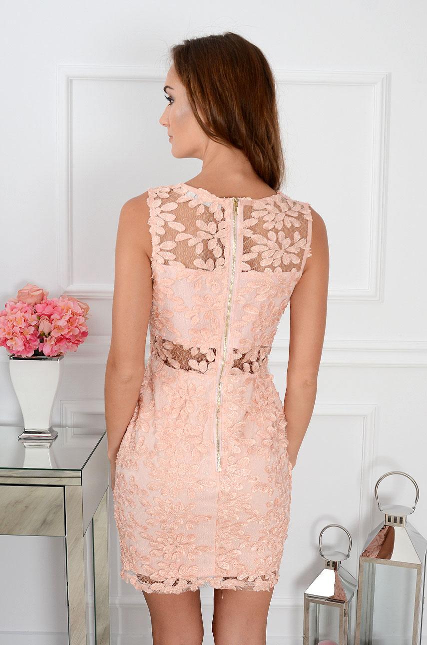 21f4c3092c5d18 Sukienka z siateczką kwiaty 3D pudrowy róż Sklep cocomoda.pl ...