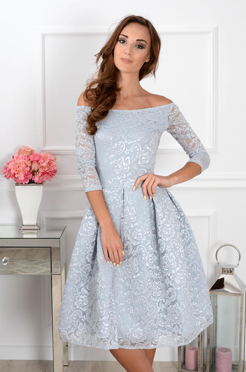 39cb0b7af8 Sukienka koronkowa Scarlet midi szara
