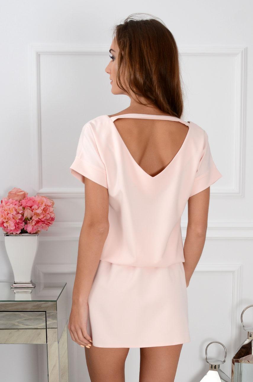 Sukienka Lora dekolt na plecach pudrowy róż Rozmiar: M