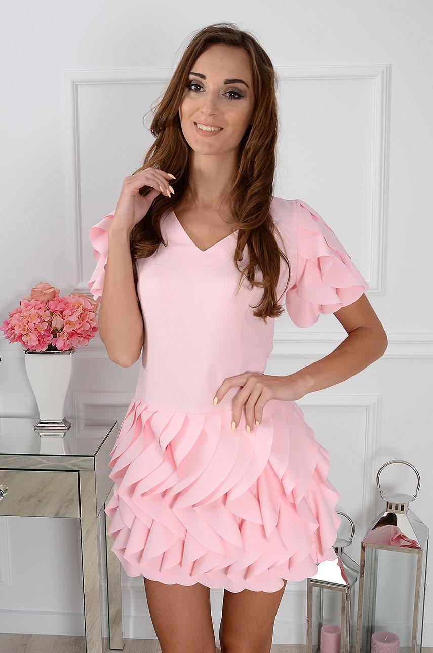 d97e0ec34c Sukienka z falbankami pudrowy róż Sklep internetowy cocomoda.pl