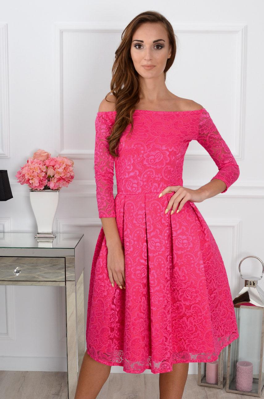 Sukienka koronkowa Scarlet midi fuksja Rozmiar: S