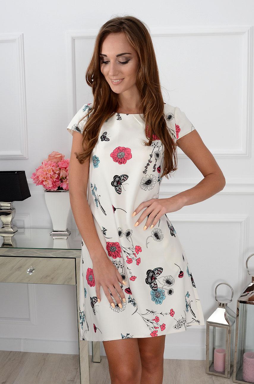 3f04993a78 Sukienka trapezowa w kwiaty i motyle kremowa - Cocomoda.pl - ...