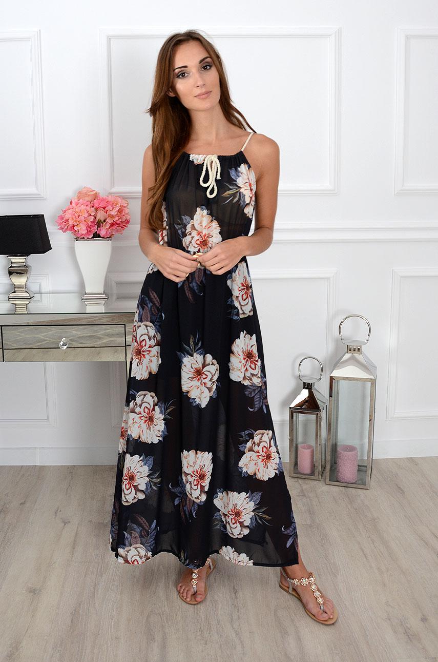 Sukienka Maxi Szyfonowa W Duże Kwiaty Czarna Sklep Cocomodapl