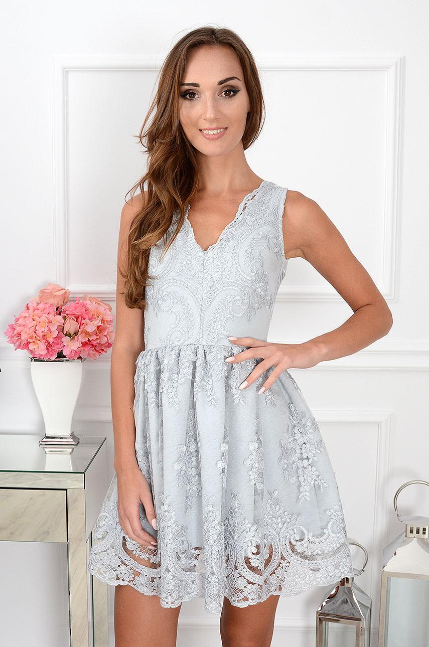 Sukienka Z Gipiury Szara Sklep Internetowy Cocomodapl Zaprasza
