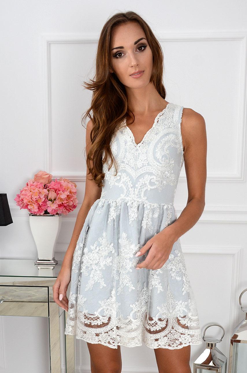 Sukienka z gipiury Luxury Lace biało-szara Rozmiar: L