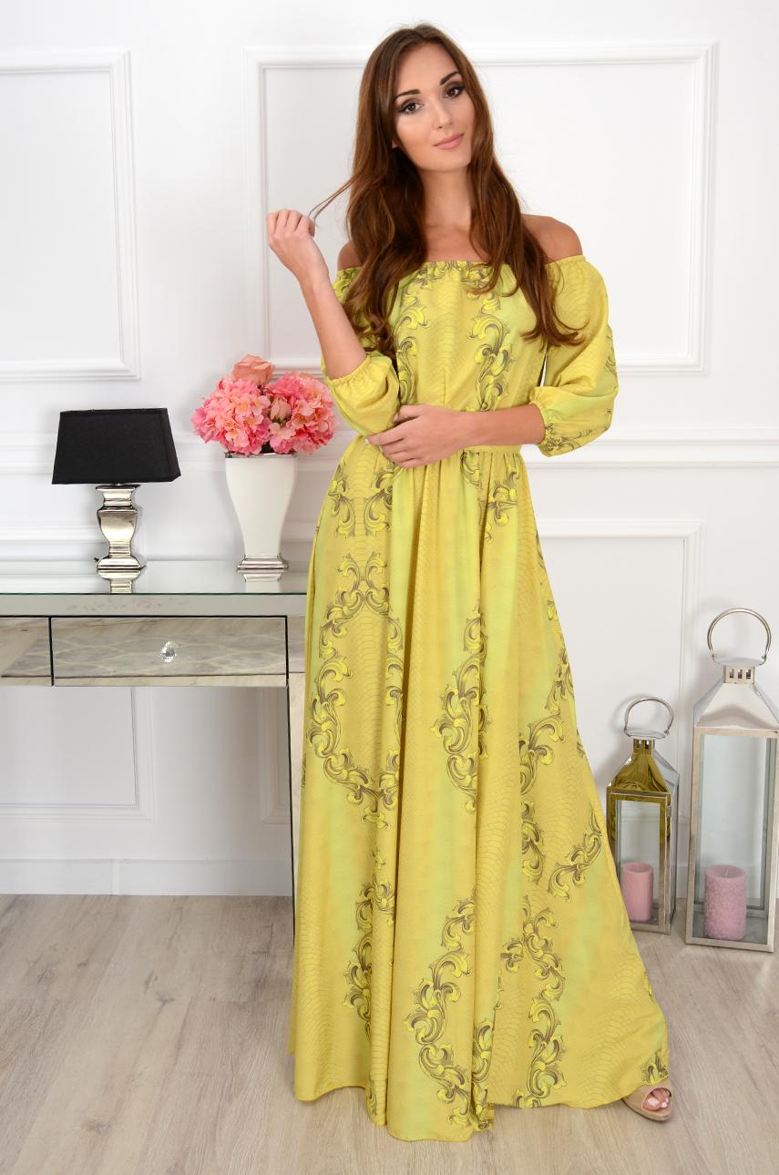Sukienka maxi California wężowa limonka Rozmiar: XS/S