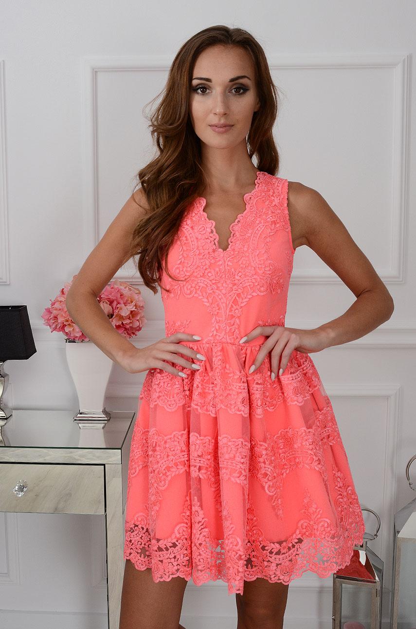 Sukienka z gipiury Luxury Lace neonowa Rozmiar: S